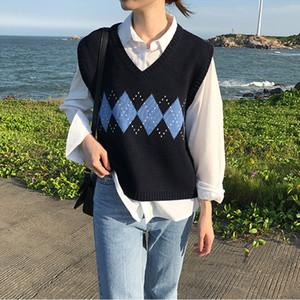 Las mujeres sin mangas Pullover Primavera 2020 de muy buen gusto Argyle de la vendimia coreana de la tela escocesa cuello en V suéter de punto Chaleco Negro Gris Caqui