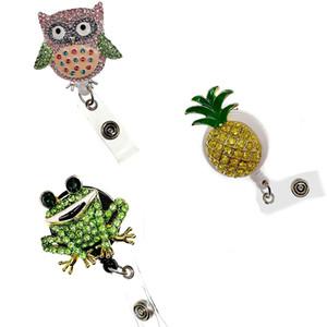 50pcs lot New design animal owl frog and fruit pineapple Rhinestone enamel ID badge Holder Reel