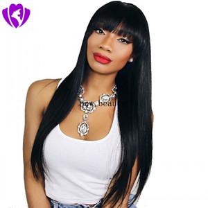 Длинные 24inches шелковистой прямой парики с полной Bangs бразильские волосы Моделирование человеческих волос полный парик черный / коричневый Бесплатная доставка