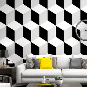 Nordic style wallpaper black and white geometric pattern 3d modern minimalist pvc vinyl embossed wall paper