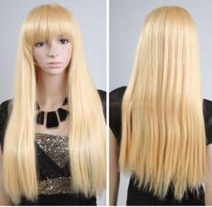 ENVÍO GRATIS + + Moda Lady Gaga Costume Party Hair Wig Nuevo largo recto Cosplay peluca llena