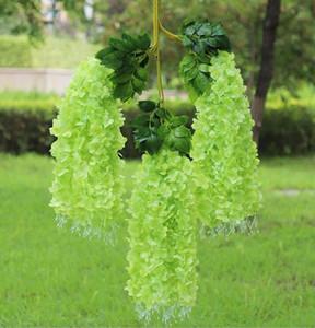 Crittografia di fascia alta Hydrangea Flower Vine Three Forks Wisteria Rattan Fiori decorativi Wall Hanging Craft Ornament per la casa Giardino Matrimonio