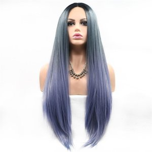 A Synthetic Wigs Long Natural Straight Fashion Cosplay Heat Resistant Fiber Wigs Natural Hairline Mix Colors 24 Inches