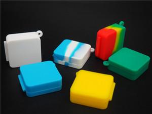 10pcs / lot 9ml quadrado pequeno Silicone Recipiente para Dabs Concentre Silicone Containers cera Silicone Jars Dab Containers