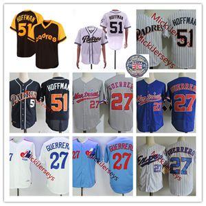 Mens #27 Vladimir Guerrero Montreal Expos Jersey Stitched #51 Trevor Hoffman San Diego 2018 HOF patch Jersey S-3XL
