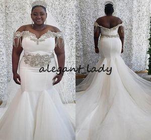 Artı boyutu Denizkızı Gelinlik 2020 Boncuklu Kristal Püskül Sweep Tren African Queen Gelin Bahçe Düğün elbise de mariée