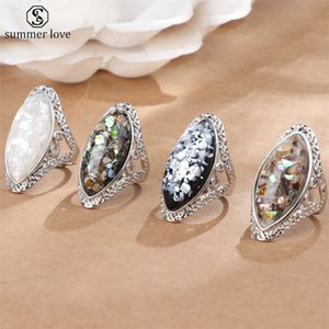 Cheap Rings 4 Color Vintage Antique Silver Color Big Oval Shell Finger Ring Band Ring For Women Female Statement Boho Beach Jewlery Gift