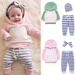 2 colors Baby kids clothes Set Long-sleeved hoodies +Leisure striped trousers+Headband or hat 3 pieces sets kids designer clothes DHL JY490