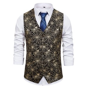 Waistcoat Gold Steampunk Suit Vest Men Gothic Victorian Single Breasted Dress Vest Waistcoat Men Halloween Nightclub Cosplay