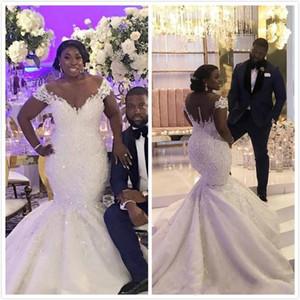 2020 nova africano além do tamanho da sereia vestidos de casamento fora do ombro Lace apliques frisado botão Sheer voltar Plus Size tribunal trem vestidos de noiva