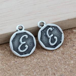 """Antik Gümüş Çift taraflı Mektup """"E"""" Disk İlk alaşım Charms Kolye Moda Takı DIY 14.8x28.2 MM 100 adet / grup A-4010"""