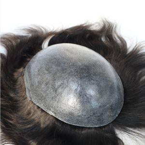 Hombres Peluca de pelo Mens Posquillas Sistema de cabello PU completo PU Toupee Full Thin Skin Toupee Chino Virgen Human Hair Sustitución Peluca de silicona para hombres
