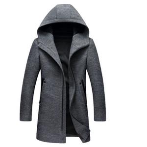 Wool Mens Inverno Blends longa com capuz Casacos Moda de Alta Qualidade com capuz masculino Peacoat Plus Size casacos quentes Sólida
