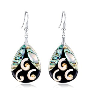 Wholesale Natural Abalone Earrings Teardrop Dangle Paua Shell Handmade Jewelry For Women Teen Girl ES1D016 free shipping