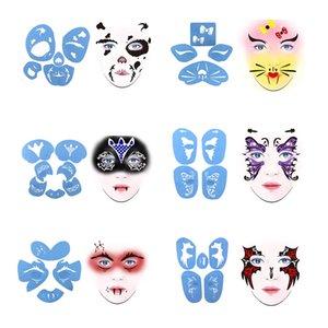 6 Sätze aus Kunststoff wiederverwendbarer Gesichts-Farben-Schablonen-Body Painting-Schablone, Make-Up Accessoires für Männer Frauen Stadiums-Partei-Gesicht Design Tool