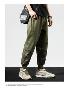 Pencil Pants Mens Loose Patchwork Mixed Color Mid Capris Pants Mens Pocket Letter Print Pants Fashion Drawstring