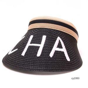 CHA mektup nakış boş üst hasır şapka ördek kap dokuma beyzbol şapkası hasır şapka