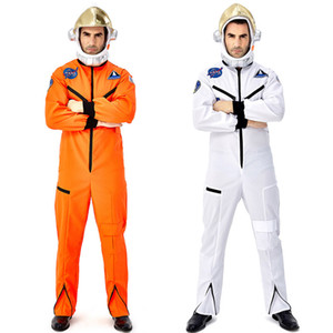 Halloween Mens Astronauts Cosplay Costume Pilot Spaceman Space Flight Jumpsuit Masquerade Party Full Set with Hat
