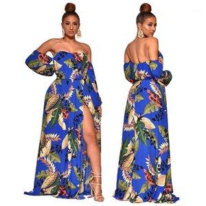 Sommer-Kleider Bohemian Kleidung Langarm-beiläufige lange Frauen reizvolle trägerlose Designer-Kleid mit Flügelärmeln Womens