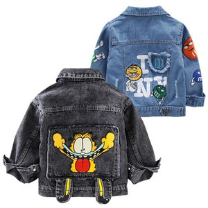 Crianças Garfield Denim Jacket meninos Vestuário dos desenhos animados Primavera Jacket For Girls Outerwear Adolescente Rivet Jean Jackets Roupa Crianças