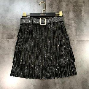 벨트 띠 석 시니 블링 계층 술 프린지 짧은 치마 S M L XL 유럽 패션 새로운 디자인 여성의 높은 허리