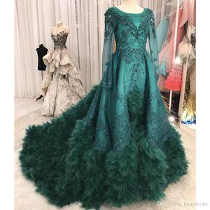 Зеленые платья выпускного вечера с круглым вырезом и кружевными аппликациями Жемчуг Вечерние платья с длинным рукавом с перьями Съемные поездные платья Vestidos de Fiesta