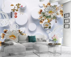 3D Photo Wallpaper White Round Ball Delicate and Noble Peony Custom HD environmentally friendly Interior Decoration Wallpaper