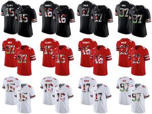 Ohio State Buckeyes # Ezekiel Elliott J.T. Barrett Jerome Baker Joey Bosa Koleji Futbol Dikişli Formalar Beyaz Siyah Kırmızı