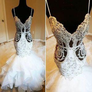 2020 Luxurious Lace frisada Árabe Wedding Dresses Spaghetti Sexy Mermaid nupcial vestidos vintage vestidos de casamento baratos