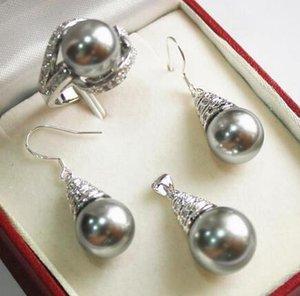 Perruques de cheveux de femmes de cospay des femmes pleines 12mm perle de coquille grise perle collier boucles d'oreilles bague style mis en valeur noble noble réel