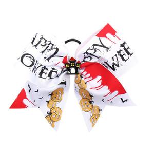 Carter Lisa 7 Inch Halloween Print Cheer Bows Funny Grosgrain Ribbon School Hair Bow Elastic Rubber Hair Bands For Girls