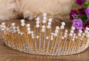 20pcs / lot bricolage Simple Gold Sliver Drill perle Couronne tête Bands Bride studio Photos Bandeaux Outils coiffants Accessoires HA1473