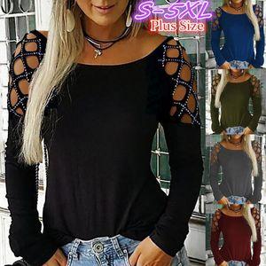 Womens Hollow Moda T-shirt manica lunga Out allentato casuale Drilling girocollo camicetta SUPERA IL T Plus Size