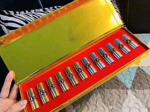 Üst Marka Yuvarlak tüp Numune Ruj 12pcs Limited Edition'un ruj Set 6adet Altın + 6adet Sliver Tüp Üst düzey Ahşap Makyaj Hediye kutusu