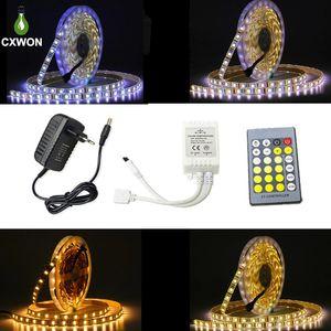 Flexible LED Strip Light 5050 5M Waterproof 60LEDs M White Dual Color LED Tape Strip Light Kit with 24keys Controller 12V 3A Adapter