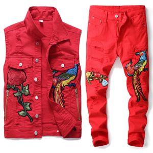 Avrupa Tarzı Erkekler Kırmızı Renk Şık Gevşek Seti Hip Hop İki adet İşlemeli Phoenix Çiçek Erkekler Giyim Delik Denim Yelek Pantolon Ripped
