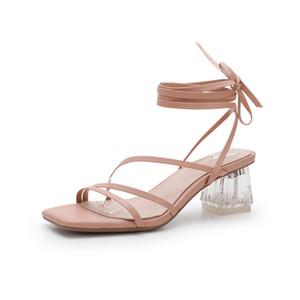 Crystal Mesh Sandals 2020 Summer Fairy Female High-heeled Shoes with Thick Wind Leather Straps Student Shoes