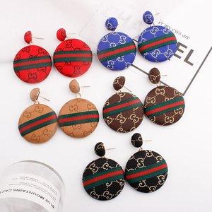 Aretes de paño Rojo Azul Negro Beige Brow rayada Pop Bohemia pendientes para las muchachas de las mujeres amantes de la joyería