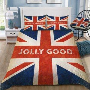 Славный британский флаг 3D комплект постельных принадлежностей печатных пододеяльник набор королева король Твин размер
