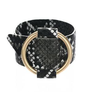 Snake Pattern Leather Bracelet Oversized Metal Looped Ring Design Multicolor Wide Bracelet Women Statement Trend Accessories