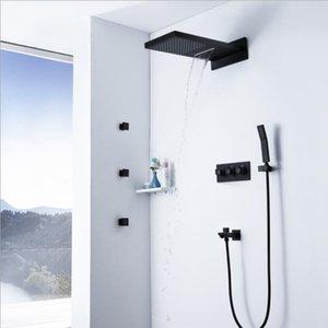 쉬운 설치 4 가지 기능 뜨거운 콜드 믹서 내장형 벽 비 샤워 세트 304 SUS Rainfall Shower Kits 폭포 샤워 블랙 마감