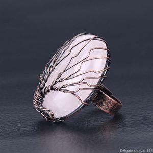 Vintage da árvore de vida Gemstone Rings Copper Opal Rose Quartz Natrual Pedra Winding Handmade ajustável dedo banda anel moda jóias