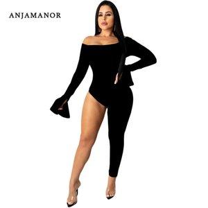 Seksi Siyah Uzun Kollu Kapalı Omuz Tek Bacaklı Tulum Kadınlar için One Piece Kıyafet Kulübü Wear BODYCON Romper
