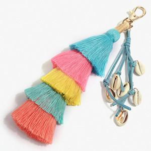 새로운 보헤미안 스타일 열쇠 고리 술 체인 가죽 핸드 메이드 쉘 열쇠 고리 응원 가방 매력 자동차 지갑 펜던트 열쇠 고리 장식품