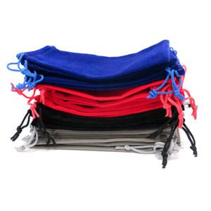 الجملة 100 قطعة / الوحدة 10x16 سنتيمتر الكبير الرباط حقائب متعدد الألوان الصلبة المخملية مجوهرات تغليف أكياس هدية الحقيبة cheaphandmade