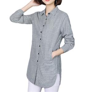 Vogorsean Mulheres Blusa Listrada Camisa Ocasional Solto Estilo Camisa Plus Size Primavera Outono Manga Comprida Escritório Senhoras Roupas Tops Y190427