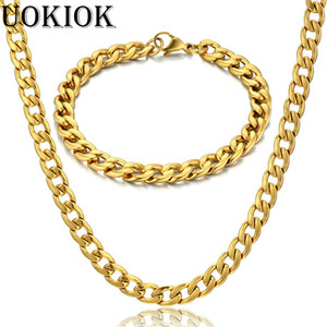 7MM Mens Boys Miami Cuban Link Bracelet & Chain Set Gold Color Stainless Steel Hip Hop Necklace Chain Jewelry Sets S287