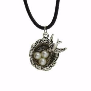 Collar de cordón de cuero negro colgante aves nido perla huevos collar tibetana colgante de plata moda regalo de la amistad accesorios de la fiesta