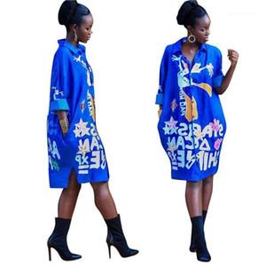 소매 라펠 목 드레스의 디자이너 느슨한 여성상의 여성 의류 여자 셔츠 드레스 Flora 인쇄