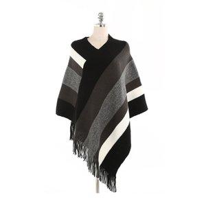 Moda Inverno Grande Xaile listrado franjada Pashmina Scarf Poncho emenda Cor Lady Tassel Cloaks New E1 Chegada 25mta
